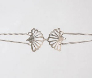 Silver double bloom double chain bracelet